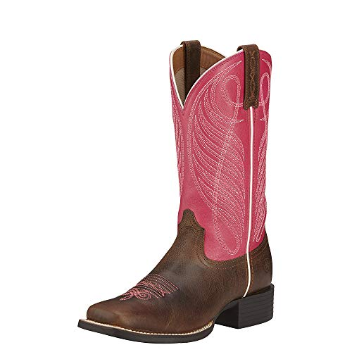 Toddler Wicker - Ariat Women's Round Up Wide Square Toe Western Cowboy Boot, Wicker/Hot Pink, 10 M US