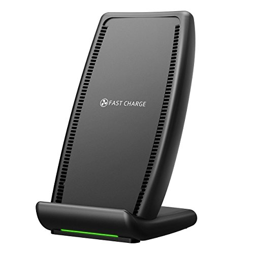 Wireless Charger, PICTEK【Qi-Certified】Fast Wireless Charging Stand with Cooling Fan, 7.5W Qi Fast Wireless Charger for iPhone X 8 8 Plus, iPhone XS XR XS Max, 10W for Samsung Galaxy S9 S9 Plus/ S8 S8 Plus/ Note 8/ S7 S7 Edge/ S6 Edge Plus and All Qi-enabled Devices (No AC Adapter)