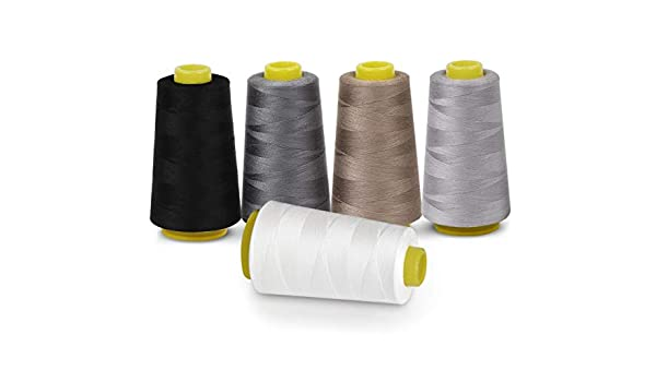 Bobinas de hilo de coser, 100% poliéster, 5 colores, 3000 yardas ...