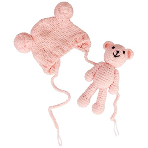 Jastore Infant Newborn Photography Prop Photo Crochet Boys Girls Knit Toy Bear Hats (Pink)