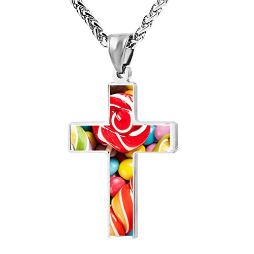 Lollipop Lolly Candy Design Zinc Alloy Necklace Chain with Cross Pendant Stainless Crucifix Pray Vintage Ornaments Unisex Adults Youth Best Gift (Lolly Candy Craft)