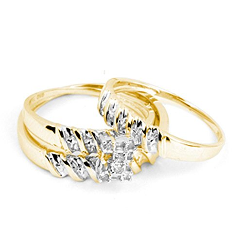 (Sizes - L = 8.5, M = 8 - 14k Yellow and White 2 Two Tone Gold Mens and Ladies Couple His & Hers Trio 3 Three Ring Bridal Matching Engagement Wedding Ring Band Set - Round and Baguette Diamonds - Emerald Shape Center Setting (1/10 cttw) - Please use drop down menu to select your desired ring sizes)