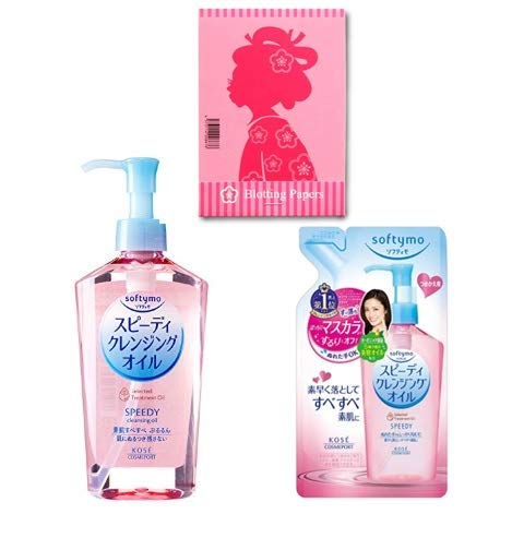KOSE Softymo Speedy Cleansing Oil (230mL) with Refill Bottle (200mL) - Japanese Makeup and Mascara Remover Wash - Clears Pores and Smooths Skin - Includes Oil Blotting Paper