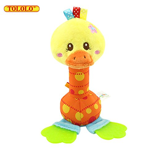 TOLOLO Cute Animal Soft Voice Early Education Baby Toy for Over 0 Months,The new baby teether rattles (Box Rubber Dog Toy)