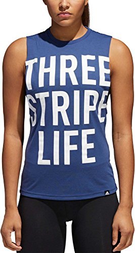 adidas Women's '3 Stripe Life' Muscle Tank Top (Noble Indigo, XL)