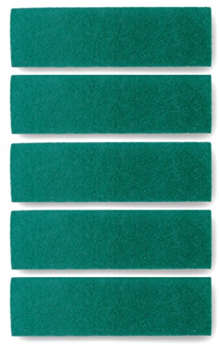 Scrub Pads For Microfiber Mops - Replacement Scouring and Scrubbing Mop Head Refills - Reusable Washable Velcro Mop Attachment Fits Bona, Norwex, Rubbermaid, Libman, LINKYO etc (18″ Pads - 5 Pack) ()