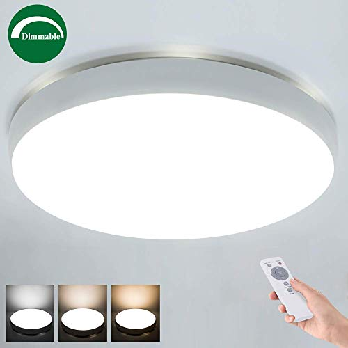 Airand 40W LED Ceiling Light with Remote, 19.3'' Round 3600lm Dimmable Flush Mount Ceiling Light Fixture for Bedroom,Living Room,Kitchen,Dining Room, Rattan Ceiling Lamp,Timer,3 Light Color Changeable (Installing Ceiling Light Fixture Without Ground Wire)