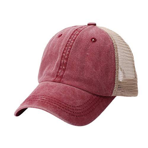 TANGSen Unisex Outdoor Cotton Sun Hat Embroidered Mesh Baseball Summer Caps Casual Adjustable Wine]()