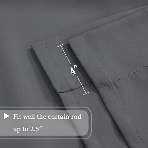 Blackout Energy Efficient Tie Up Shades Home Decor Rod Pocket Panels for Small Window (42W x 63L, Medium Grey, 2 Panels) - H.Versailtex