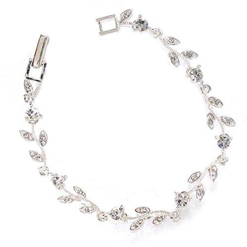 Silver Crystal Rhinestone Circle Round & Leaf Shape Combination Link Bracelet