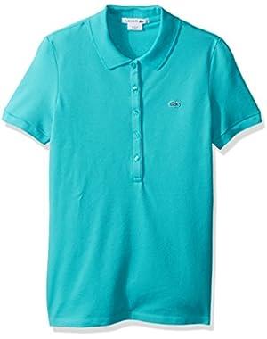 Lacoste Women's Short Sleeve Stretch Pique Polo Shirt, Bermuda 08H, Lacoste 38