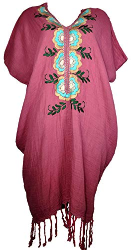 Amazing Grace Elephant Co. Lady Hand Embroidered Cotton Bohemian Loose Top Tunic Kaftan Coverup Mini Dress (Dark Pink Floral) ()
