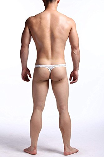 3 back Transpirable string Interior Los G T Encaje Hba Hombres White Ropa Malla De Pack Sexy Tanga xnfZHT