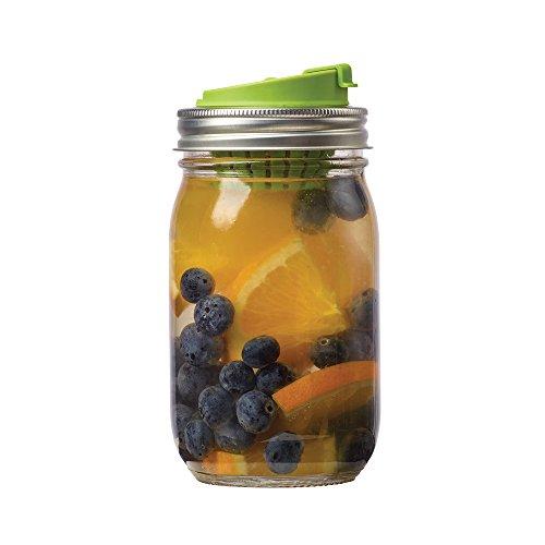 Jarware 82622 Fruit Infusion Lid for Regular Mouth Mason Jars, Green