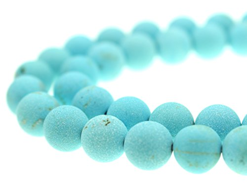GoodBead Gorgeous Natural Light Blue Turquoise Matte Beads 15.5
