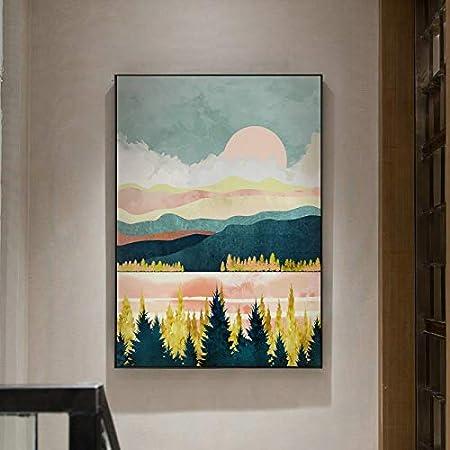 Geiqianjiumai Paisaje de Ciervos Abstractos Pintura al óleo Lienzo Arte Regalo decoración del hogar Sala Arte de la Pared Pintura sin Marco 60X80cm