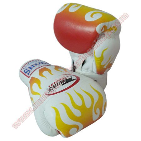 Twins Muay Thai Boxing Gloves White Fire Flame 8 Oz.