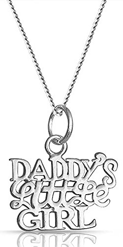 Daddys Little Girl Word Name Plate Style Pendant Necklace For Women For Daughter 925 Sterling Silver