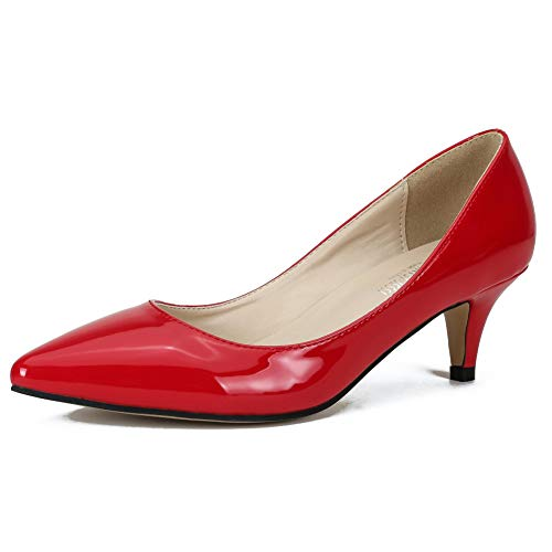 Maiernisi Slip Classic Pumps On Heel red Pointed Shoes Toe Kitten Women's Dress Pu jessi r4tqw4a