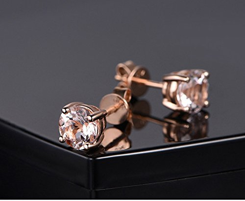Solid 18k rose gold dangle earring,solitaire earring,1.58ct Round Natural VS pink Morganite,prong (Morganite Set Earrings)