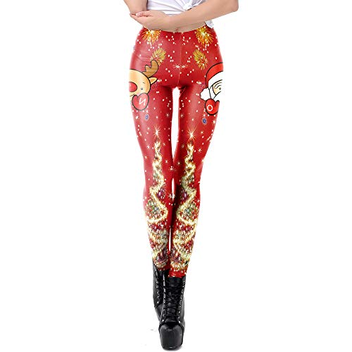 GOVOW Christmas Pants for Women Santa Claus Print Tighten High Waist Pencil Trousers Plus Size