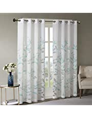 Madison Park Semi Sheer Curtain Modern Contemporary Botanical Print Out Design Grommet Top, Window Drapes for Living Room, Bedroom and Dorm, 50x84, Bird White