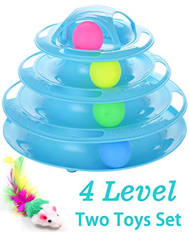 Petove New Upgraded Tower of Tracks 4 Level Cat Tracks Interactive Ball Toy and Feather Fluffy Mouse Toy Set for Cat, Kitten (Blue)
