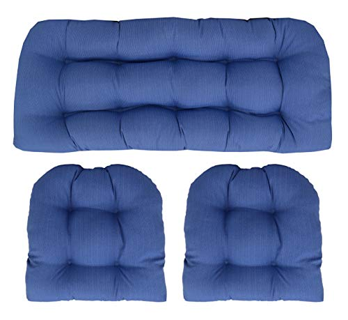 RSH Décor Indoor/Outdoor Wicker Cushions Two U-Shape and Loveseat 3 Piece Set (Blue Tiny Stripe) (Cushion Wicker Set Furniture)