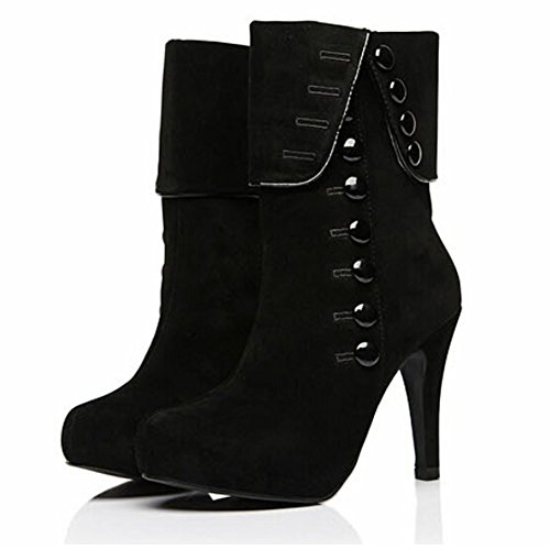Stiletto 7 Heel Pumud Martin Faux Black Suede Boots M Fashion Women High B US AxAI1Hq