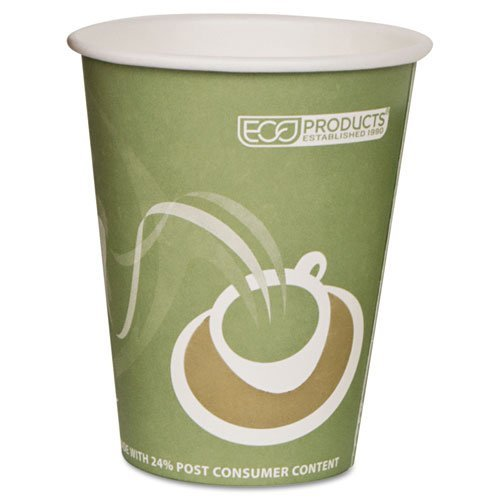 Eco-Products Evolution World 24% PCF Hot Drink Cups, Sea Green, 12 oz., 1000/Carton by ''Eco-Products, Inc'' by Eco-Products, Inc (Image #1)