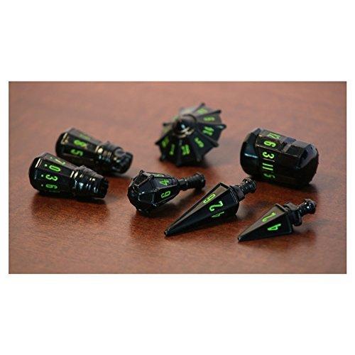 PolyHero Dice: Warrior Set - Black with Goblin Green
