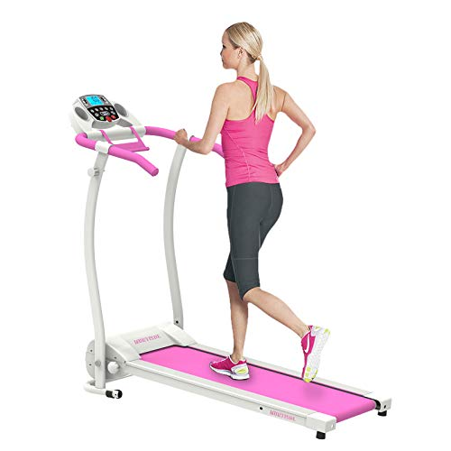 Murtisol T09D Pink Folding Treadmill Walking Running Machine with Smartphone APP Control,Removable iPad & Cup Holder,12 Pre-Programs and Adjustable Speed
