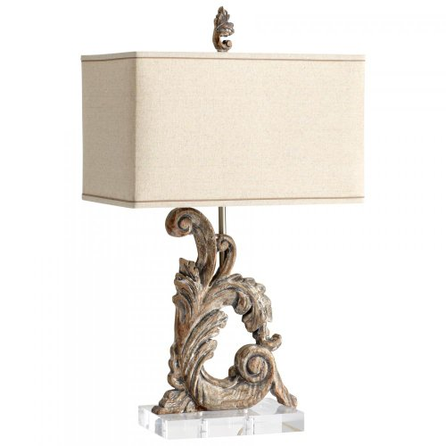 - Cyan Designs 05253 Table Lamp with Raw Cotton Shades, Limed Gracewood Finish