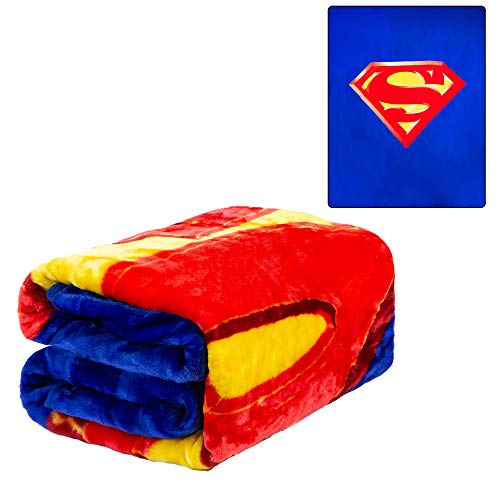 JPI Plush Throw Blanket - Superman Shield - Queen Bed 79