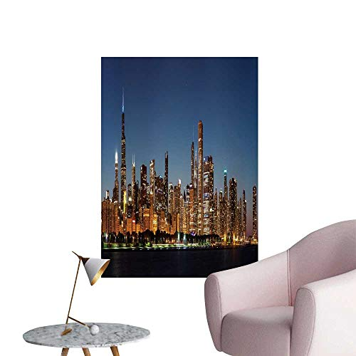 SeptSonne Wall Decals Chicago Downtown City Skyline at Night Michig Lake Shore Drive Environmental Protection Vinyl,28