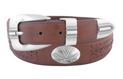 NCAA Virginia Cavaliers Full Grain Leather Braided Concho Belt, Brown, - Belt Brown Concho Leather