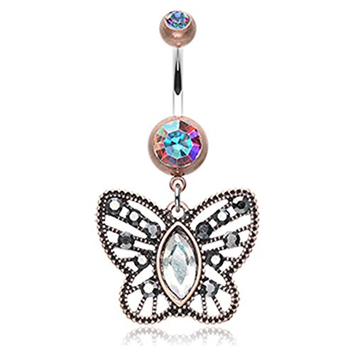 Bazooky Vintage Boho Butterfly Fliligree Belly Button Ring (Copper/Aurora Borealis/Hematite)