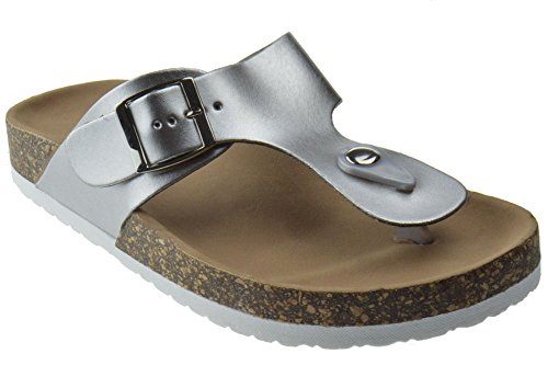 Strap on Comfort Womens Sandals Dime Silver T Slip 42 qwpwtU