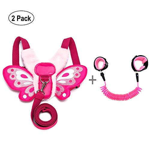 EPLAZA Toddlers Child Butterfly Walking Safety Harness with Leash + 1 Anti Lost Wrist Link (Butterfly b)