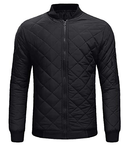 security Men's Quilted Padded Lightweight Casual Zip Up Bomber Jacket Black