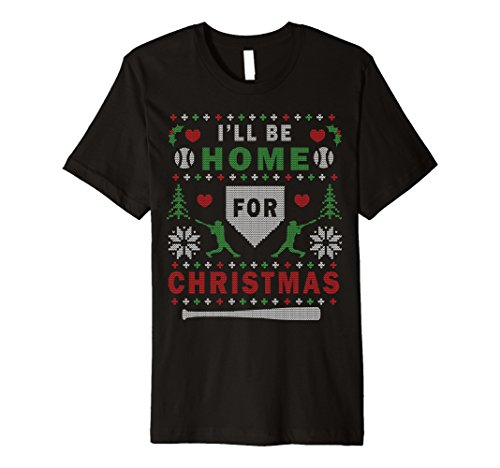 Mens Premium Baseball Ugly Christmas Sweater Pattern T-shirt Large Black -