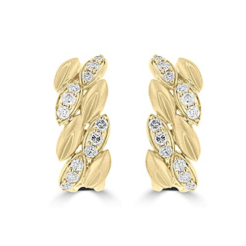 (14K Pure Yellow Gold Dangle Earrings with Natural Diamonds for Women)