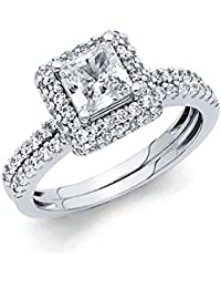 Ladies Solid 14k Yellow -OR- White Gold Polished CZ Cubic Zirconia Princess Cut Halo Engagement Ring with Side Stones and Matching Band 2 Piece Matching Bridal Set