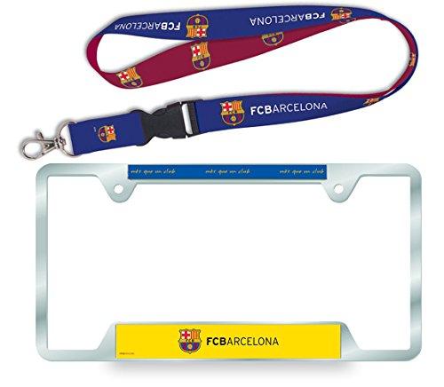 Int's Soccer - FC Barcelona -x1 Metal License Plate + x1 Lanyard Keychain , Great Bundle Deal (Metal Wincraft)