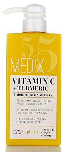 41tGDONDfFL - Medix 5.5 Vitamin C Cream w/Turmeric for face and body. Firming & brightening cream for age spots, dark spots & sun damaged skin. Anti-Aging Cream Infused w/Vitamin E, Ginger, Ginseng. (15oz)