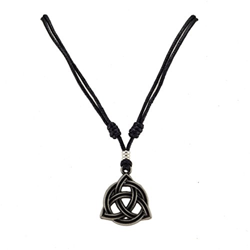Metal Celtic Trinity Knot Triquetra Pendant on Adjustable Black Rope Cord Necklace (Mens Celtic Knot)