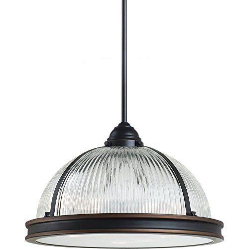 Cheap Sea Gull Lighting 65062-715 Pratt Street Prismatic Three-Light Pendant with Clear Textured Glass Diffuser and Clear Ribbed Glass Shade, Autumn Bronze Finish
