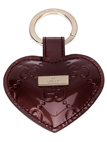 Gucci Microguccissima Purple Patent Leather Heart Key Chain Ring