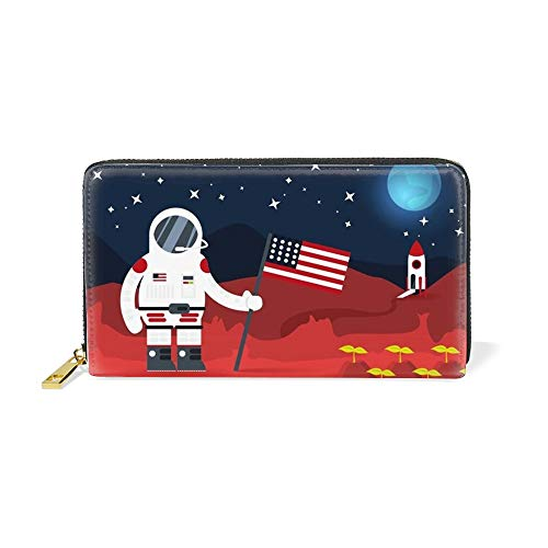 Wallet - Leather Long Zippered Clutch in Fun and Unique Prints Colonial Astratonaut