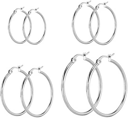Women's Stainless Steel High Polished Finish Rounded Hoops Earrings, Hypoallergenic, Nickel-free